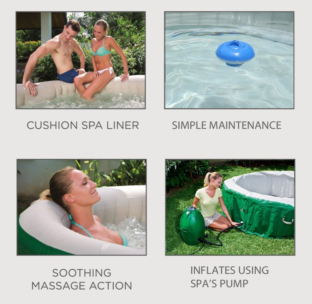 4-Person Inflatable Hot Tub with Six Filter Cartridges