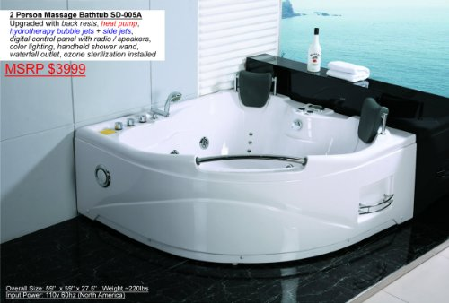 2 person whirlpool white corner bathtub spa with 11 massage jets and built in heater. Black Bedroom Furniture Sets. Home Design Ideas