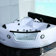 2 Person White Corner Bathtub with 29 Massage Jets, Built-in Heater and Waterfall