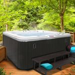 American Spas AM-630LS 5-Person 30-Jet Lounger Spa with Backlit LED Waterfall, Sterling and Smoke