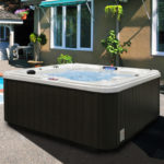 American Spas AM-730LS 6-Person 30-Jet Bench Spa with Backlit LED Waterfall, Sterling and Smoke