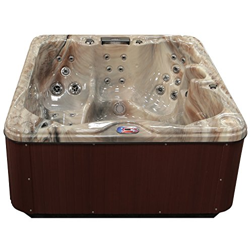 American Spas AM-630LM 5-Person 30-Jet Lounger Spa with Backlit LED Waterfall, Tuscany Sun and Mahogany