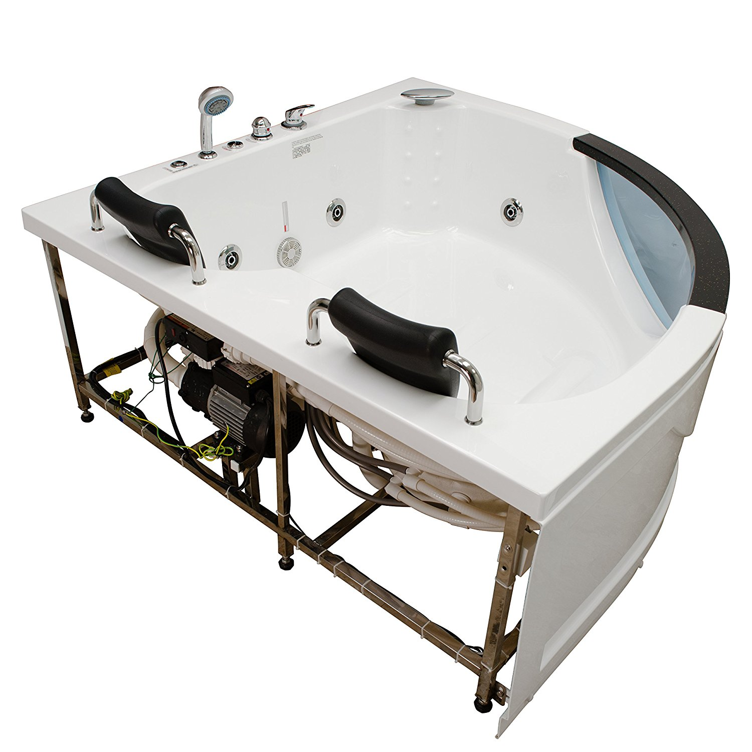 Two Person Corner Whirlpool Hot Tub perfect for relaxation and romance.