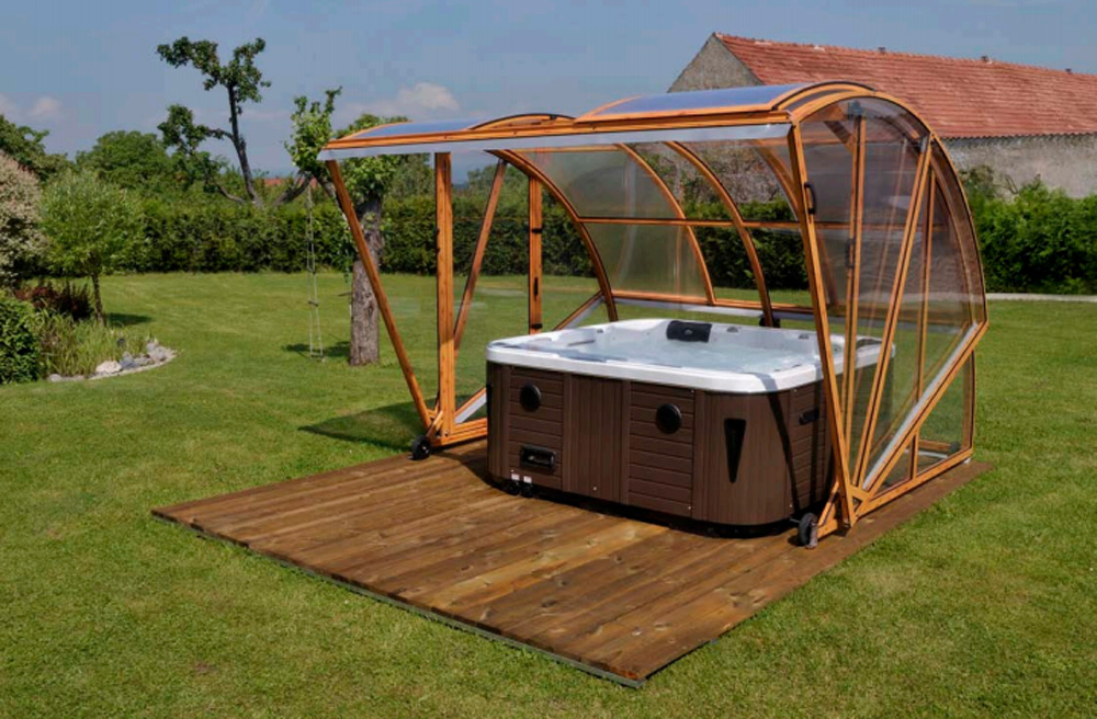 Hot tub enclosures hot tubs gazebo for an island escape for Spa gazebo kits