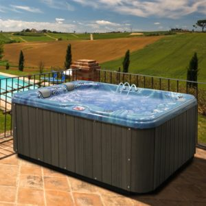 American Spas AM-756BP 6-Person 56-Jet Bench Spa with Bluetooth Stereo System, Pacific Rim and Mist
