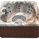 American Spas AM-730LM 6-Person 30-Jet Bench Spa with Backlit LED Waterfall, Tuscany Sun and Mahogany