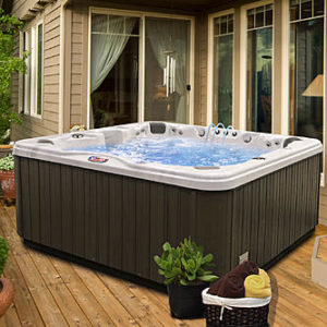 American Spas AM-756BS 6-Person 56-Jet Bench Spa with Bluetooth Stereo System, Sterling and Mist