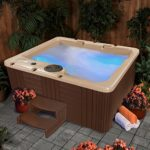 Resin Spas in Wood Look Cobblestone Resin Cabinet and Espresso Wood-Look Panels with Underwater LED Lighting (3 to 4 Persons)
