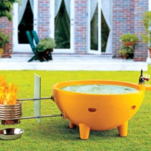 Round Fire Burning Spa & Portable Outdoor Fiberglass Soaking Hot Tub
