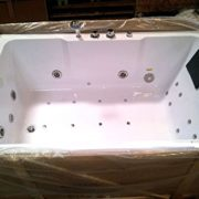 2 Two Person Indoor Whirlpool Massage Hydrotherapy White Bathtub Tub with BLUETOOTH, FREE Remote Control and Water Heater