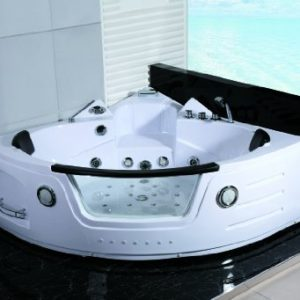 2 Person Whirlpool White Corner Bathtub Spa with 11 Massage Jets and Built-in Heater