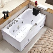60 Inch White Bathtub Whirlpool Jetted Bath Hydrotherapy 19 Massage Air Jets Inline Heater Shower Wand Ozone Clean iPod Radio, 3 Skirts Fits Left, Right Corners, Flat Wall
