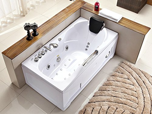 60 Inch White Bathtub Whirlpool Jetted Bath Hydrotherapy