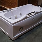 One 1 Person Whirlpool Massage Hydrotherapy White Bathtub Tub with FREE Remote Control, Water Heater, and Shower Wand