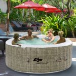 Goplus 4 Person Inflatable Hot Tub Outdoor Jets Portable Heated Bubble Massage Spa Set w/ Filter & Repair Kit (Coffee)