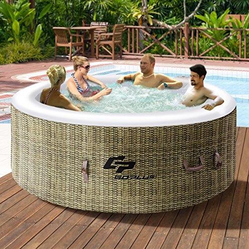 Goplus 4 person inflatable hot tub outdoor jets portable for 4 6 tub