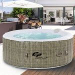 Goplus 6 Person Inflatable Hot Tub for Portable Outdoor Jets Bubble Massage Spa Relaxing w/Accessories (Coffee)