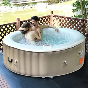 Goplus 6 Person Portable Inflatable Hot Tub for Outdoor Jets Bubble Massage Spa Relaxing w/ Cover & Filter Cartridge Accessories Repair Kit (White)