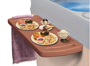 Hot Tub drink Sidebar and and floating food tables