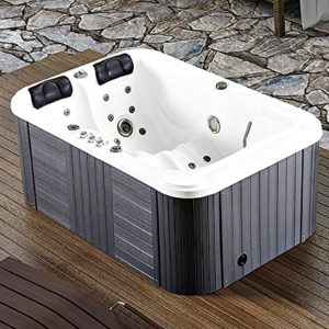 Symbolic Spas 2 Person Hot Tub Spa Outdoor Hydrotherapy Double Lounger Insulated Hard Cover – 220-240 Volt/40 Amp – 31 Jets – 1.5 HP Pump – 3KW Heater – Ozonator